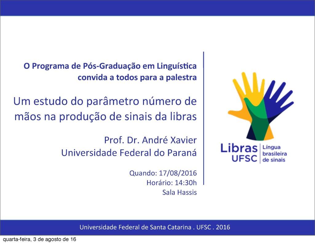 Convite Palestra Prof. Dr. André Xavier